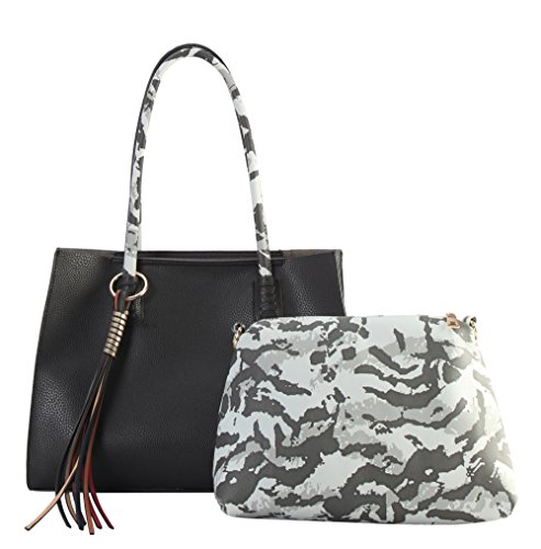 Shoulder Camo Large Black Set Multi FC Leather Tassels PU Handbag Color amp; Pieces with 2 Diophy Handles 6453 tTEgvxwx