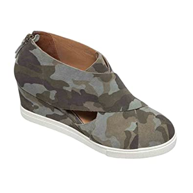 cca70004f1e Linea Paolo (New Spring Faith Women s Sneaker - Leather Wrapped Wedge  Camouflage Printed Suede 7.5