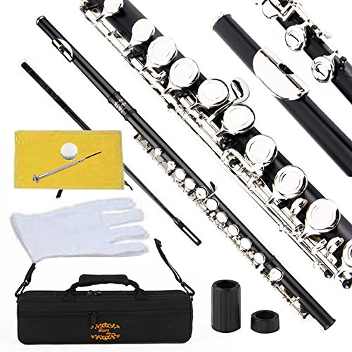 Glory Closed Hole C Flute With Case, Tuning Rod and Cloth,Joint Grease and Gloves black -More Colors available,Click to see more colors