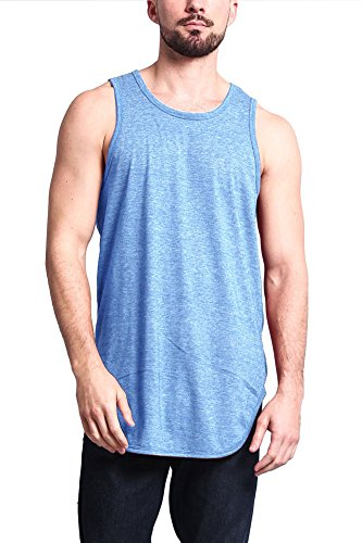 Solid Long Cotton - Victorious Solid Color Long Length Curved Hem Tank Top TT47 - Carolina Blue - Large - A4D