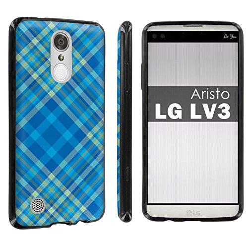[POPCulture] Gummy Gel TPU For LG [Phoenix 3] [Fortune] [Aristo] [LV3] [LG K8 2017] [Black] Total Shock Absorption Bumper Slim-Fit Flexible TPU [Screen Protector]- [Plaid-Blue] Print Design