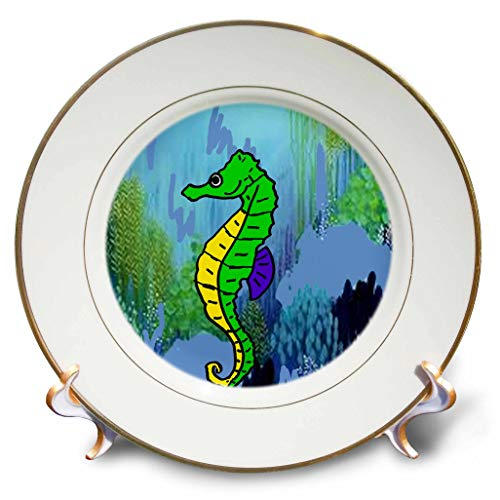 - 3dRose All Smiles Art - at The Beach - Cool Artistic Sea Horse and Under Water Ocean Plants Beach Art - 8 inch Porcelain Plate (cp_317021_1)