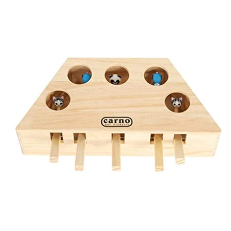 Geggur Cat Toy Puzzle Box,Interactive Cat Teaser Toy Solid Wooden Cat Toy Box Exercise Toy Whack A Mole Mouse Puzzle Box for Cat Kitten Hunting Playing Exercising Scratching Bite,3/5 Holes