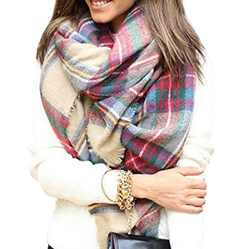 Ankecity Womens Plaid Blanket Winter Scarf Warm Tartan Wrap Oversized Shawl Cape