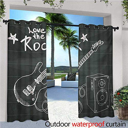 Guitar Outdoor Blackout Curtains Love The Rock Music Themed Sketch Art Sound Box and Text on Chalkboard Outdoor Privacy Porch Curtains W72 x L108 Charcoal Grey White ()
