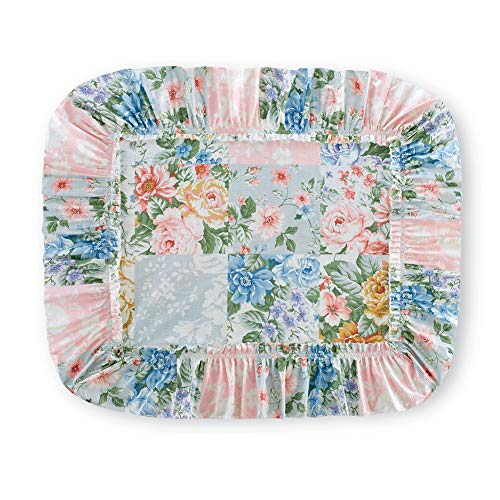 Collections Etc Abigail Plisse Floral Patchwork Ruffled Pillow Sham with Shades of Blue, Pink, Purple and Gold - Seasonal Décor for Bedroom, Sham
