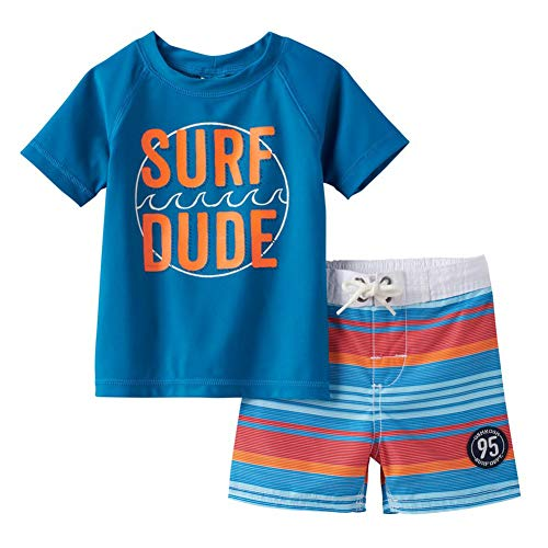 OshKosh B'Gosh Osh Kosh B'gosh Baby Boys Infant Surf Dude 2pc Rashguard Swim Short Set (18 Months)