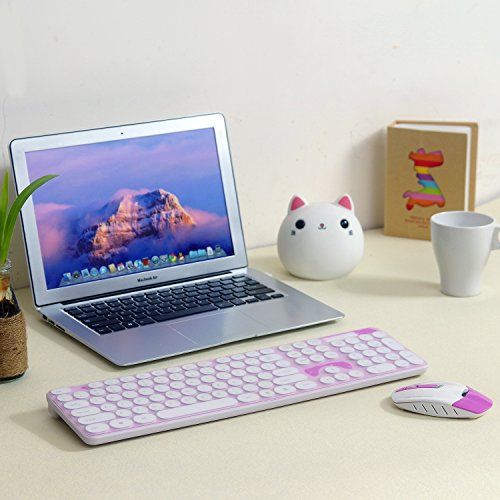 Wireless Keyboard and Mouse Combo, 2.4GHz Cordless Cute Round Key Set Smart Power-Saving Whisper-Quiet Slim Combo for Laptop, Computer,TV and Mac (Dark Pink) by wawpi (Image #2)