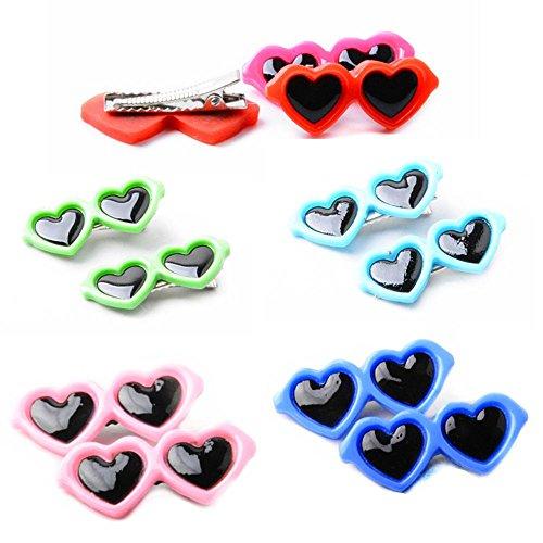 Boutiages Multicolor Dog Cat Plastic Sunglass Hairpins Hair Barrette Heart Shape Pet Hair Clips