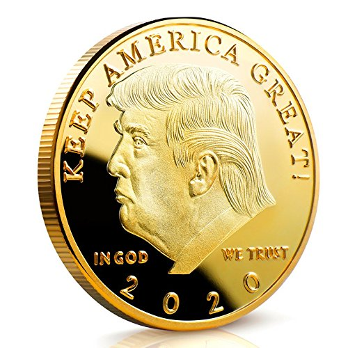 Keep America Great Challenge Coin - Donald Trump 2020 Gold Plated in the Commemorative Collectors Edition Series - Stunning Proof Like Coins - A Michael Zweig Designer Coin for Presidential Mint Commemorative Challenge Coin