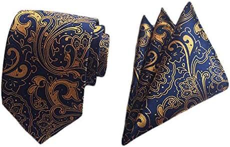 MENDENG Men's Gold Blue Paisley Silk Ties Business Wedding Necktie Hanky Tie Set