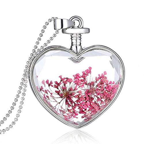 Flower Heart Glass Wishing Necklace?Round Shape Dried Pressed Purple Flower Pendant Necklace,White Gold Plating,23.6