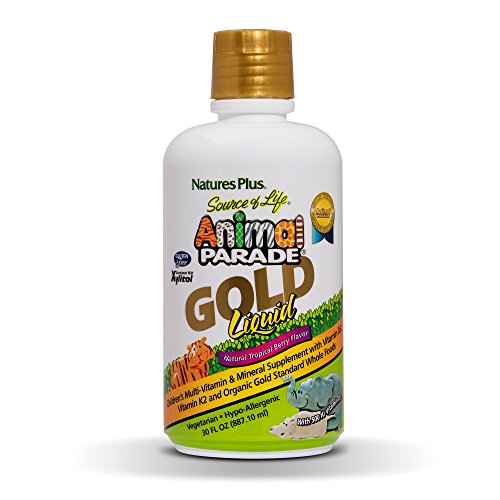 Natures Plus Animal Parade Source of Life Gold Liquid Childrens Multivitamin, 30 OZ - Natural Tropical Berry Flavor - Immune Support Supplement - Organic Whole Foods, Gluten Free, Vegan - 60 Servings