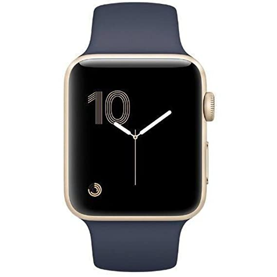save off fb5b7 dba15 Amazon.com: Apple Watch Series 2 42mm (Gold Aluminum Case, Midnight ...
