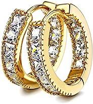 Kainier CZ Hoop Earrings with Cushion Cut Cubic Zirconia 14K White Gold Plated Earrings Wonderful Gift Choice