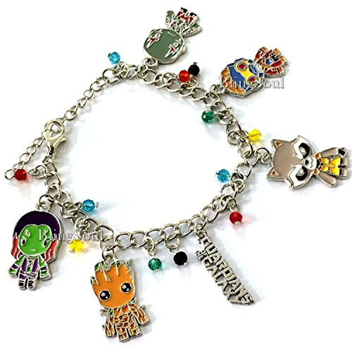 MRVL Galaxy Team Collection Charm Bracelet Star Lord, Gamora, Drax, Rocket, Groot (Silver) Christmas Gift Ideas