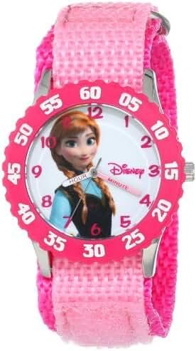 Disney Kids' W000968 Frozen Anna Time Teacher Stainless Steel Watch with Pink Nylon Strap