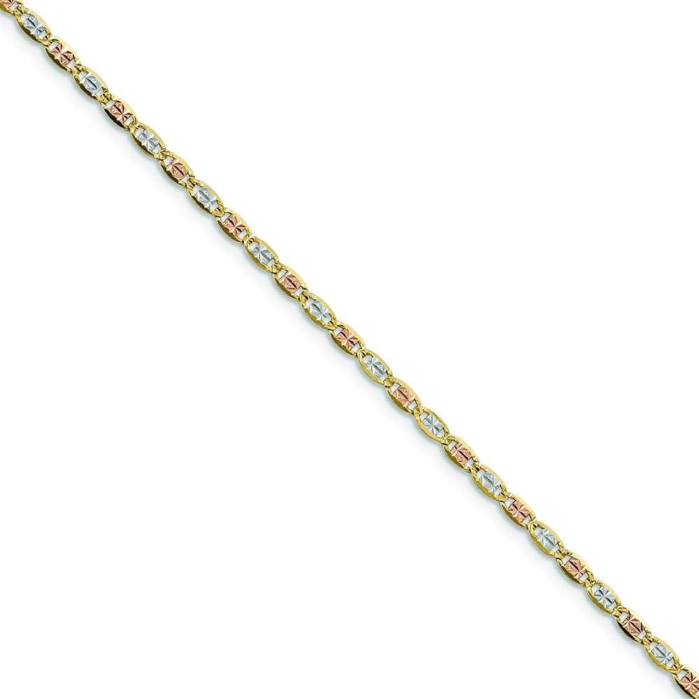 Solid 14K Gold Valentino Bracelet \u2022 Real Gold Chain Bracelet \u2022 Tri-Color Valentino Bracelet \u2022 Tri-Gold Pendant Bracelet