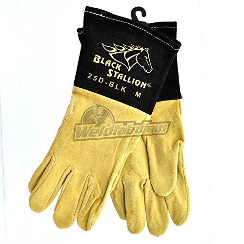 (Revco Black Stallion 25D-BLK Premium Deerskin TIG Welding Gloves, Medium)