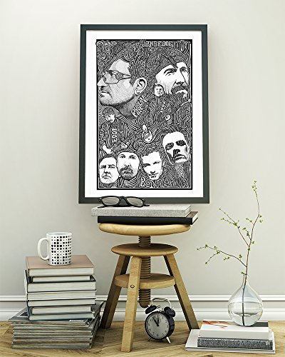 (U2 Bono, The Edge, Adam and Larry - Inspired Letterpress Art Print Poster - Detailed Pen and Ink Original Hand Drawing 11