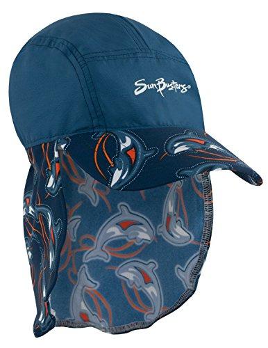 SunBusters Boys Flap Hat (UPF 50+), Smoky Orca, Small