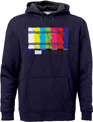 BSW Unisex No Channel Color Bars Vintage Off-Air TV Hoodie 4XL Navy/Charc