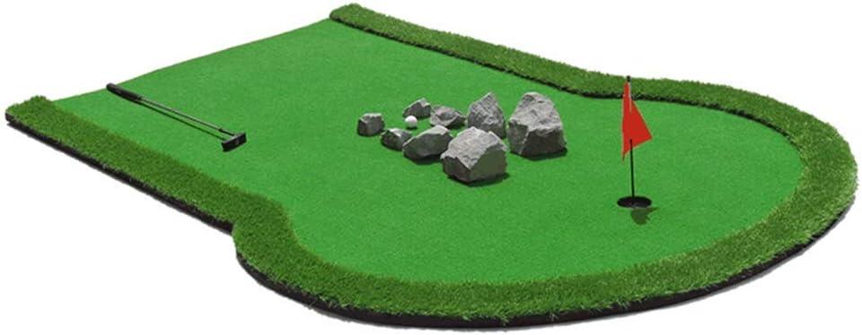 インドアマットゴルフミニアーティフィシア ゴルフパッティングマットゴルフボール - ポータブルマットミニゴルフ練習トレーニングエイド、家庭用ゲーム、ギフト、オフィス、屋外使用 サーフェスフラッグアクセサリー (色 : 緑, サイズ : 2*3m) 緑 2*3m