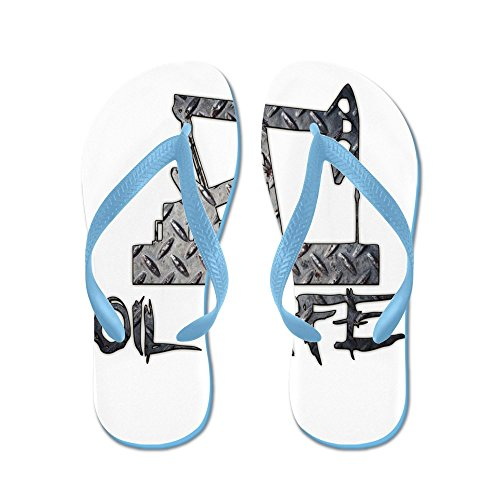 CafePress Diamond Plate Oil Life Pumpjack - Flip Flops, Funny Thong Sandals, Beach Sandals Caribbean Blue