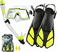 DiVLMT Adult Snorkeling Gear Large View, Military Style Snorkel Set for Adult Anti Leak Easy-Breath, Teens Sno