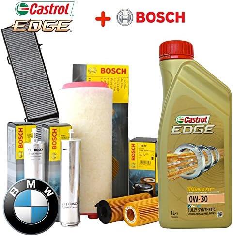 Inspektionskit Öl Castrol Edge 0 W30 6lt 4 Filter Bosch F026407072 F026400119 F026402085 1987432424 Auto