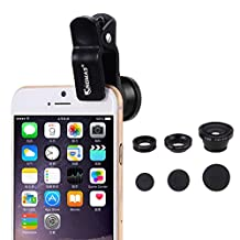 KINGMAS 3 in 1 Universal Fish Eye & Macro Clip Camera Lens Kit for iPad iPhone 6 5 4 Samsung HTC and Most smartphones (Black)
