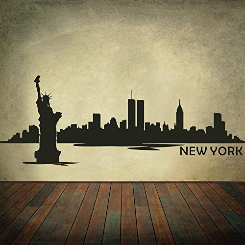 New York City Skyline Wall Decal Vinyl Ctiy Wall Decor New York Wall Art Skyline Sticker Wall Graphic Home Wall Decoration Black