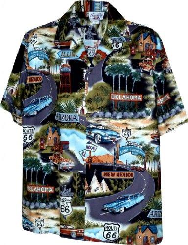 (Hawaiian Aloha Shirt Route 66 Highway Vintage Cars and States Black (Made in Hawaii))