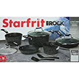 Starfrit the Rock 10 Piece Non-Stick Cookware Set Finish: Black