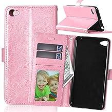 Lenovo S90 case, solid color pattern wallet style case magnetic design flip folio PU Leather cover standup cover case for Lenovo S90 ( Color : Pink-Lenovo S90 )