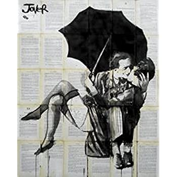 The Red Umbrella Loui Jover Art Print Couple Kiss Romance Romantic Poster 15x24