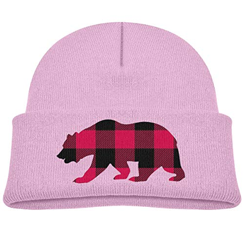 Yimo Kids Knitted Beanies Hat Plaid Clipart Bear Head Winter Hat Knitted Skull Cap for Boys Girls Pink