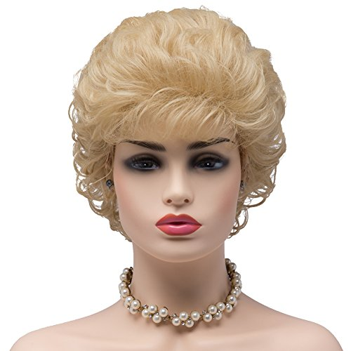 BESTUNG Ladies Blonde Short Curly Synthetic Full Hair