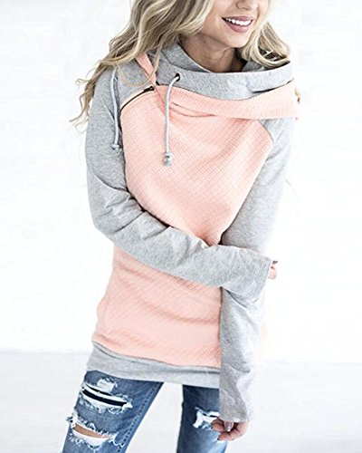 Hoodie Caldo Striscia Hoody ShallGood Autunno Felpa Top Elegant Cappuccio Pink Griglia Invernale Pullover Griglia Dolcevita con Donne Asimmetrico q17wIf