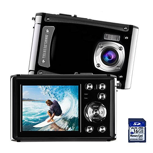 Waterproof Digital Camera for Kids, DECOMEN Underwater Sport Camera, Ultra HD 16MP Digital Kids Camera with 2.4 LCD Screen, 8x Digital Zoom, Flash, Mic and Rechargeable Battery(16G SD Card Included)