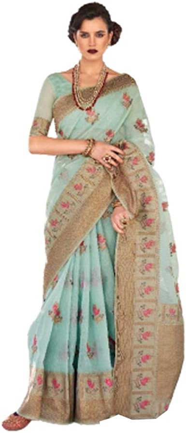 Green Original Linen saree and blouse for women,wedding saree,indian saree,saree dress,saree for women,designer saree,dress for women,sari
