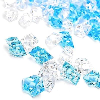 DomeStar Fake Ice Cubes, Fake Diamonds Plastic Ice Cubes Acrylic Clear Ice Rock Diamond Crystals