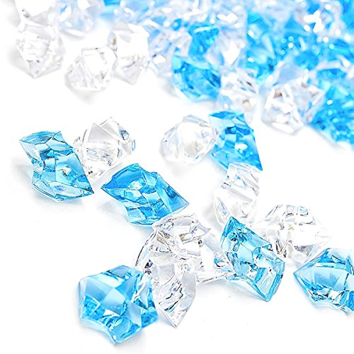 Gemstone Cube (Xmas Fake Ice Cubes, 150 Pack Premium Blue Acrylic Clear Ice Rock Crystals Crushed Snowflake Diamonds Gemstones Vase Fillers for Decoration Party Centerpiece Wedding by DomeStar)