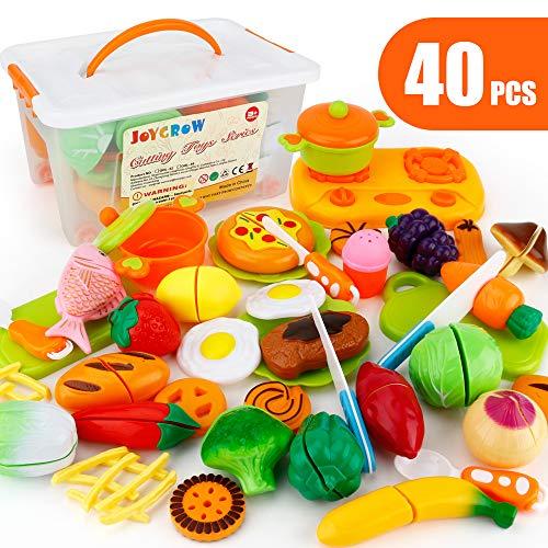 JoyGrow 40 PCS Cutting Toys Play Food Kitchen Toys Pretend Play Toys for Girls Boy Kids with Storage Case