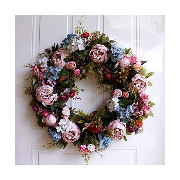 Bling Peony Wreath – 22″ Large Rustic Farmhouse Decorative Artificial Flower Wreath, Faux Floral Wreath for Front Door Window Wedding