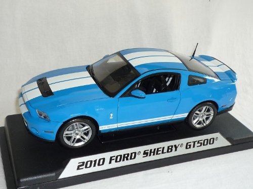 Ford Shelby Mustang 2010 Gt500 GT 500 Hellblau Weisse Streifen 1/18 Shelby Collectibles Modellauto Modell Auto