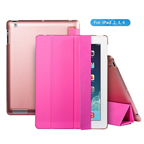 iPad 2 box,iPad 3 case,iPad 4 case,Ants Tech Smart Wake-up and Sleep Function Stand Pedestal Silver screen Cover for Apple iPad 2 3 4 with Retina Display - Pink