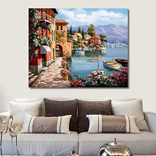 RUOPOTY Venice Resorts Seascape DIY Painting By Numbers Handpainted Oil Painting