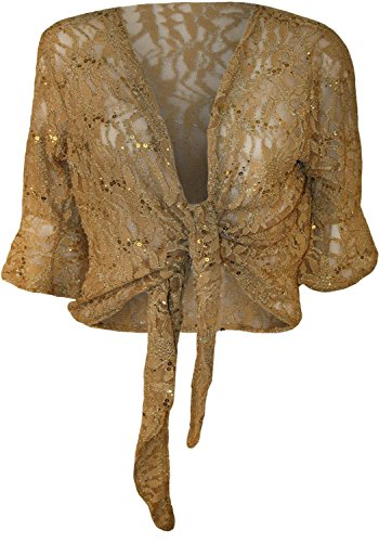 Floral Chocolate Womens Lace Bell Cardigan Pickle Gold Up ¾ Tie Size M Plus New Shrug Sleeve 2X Sequin rXEzSqwX