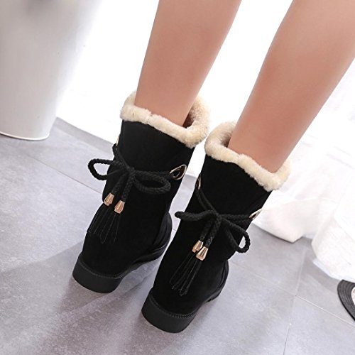 Snow Fur Flat Calf 7 Lined Suede Tassel Boots Mid Boot Women's Faux Black Winter Back Boots Ankle Lace up 5 Black w8dqI